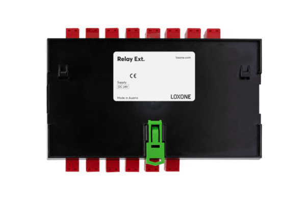 Die Loxone Relay Extension besitzt 14 digitale Ausgänge (Relais) max. 250VAC; 16A